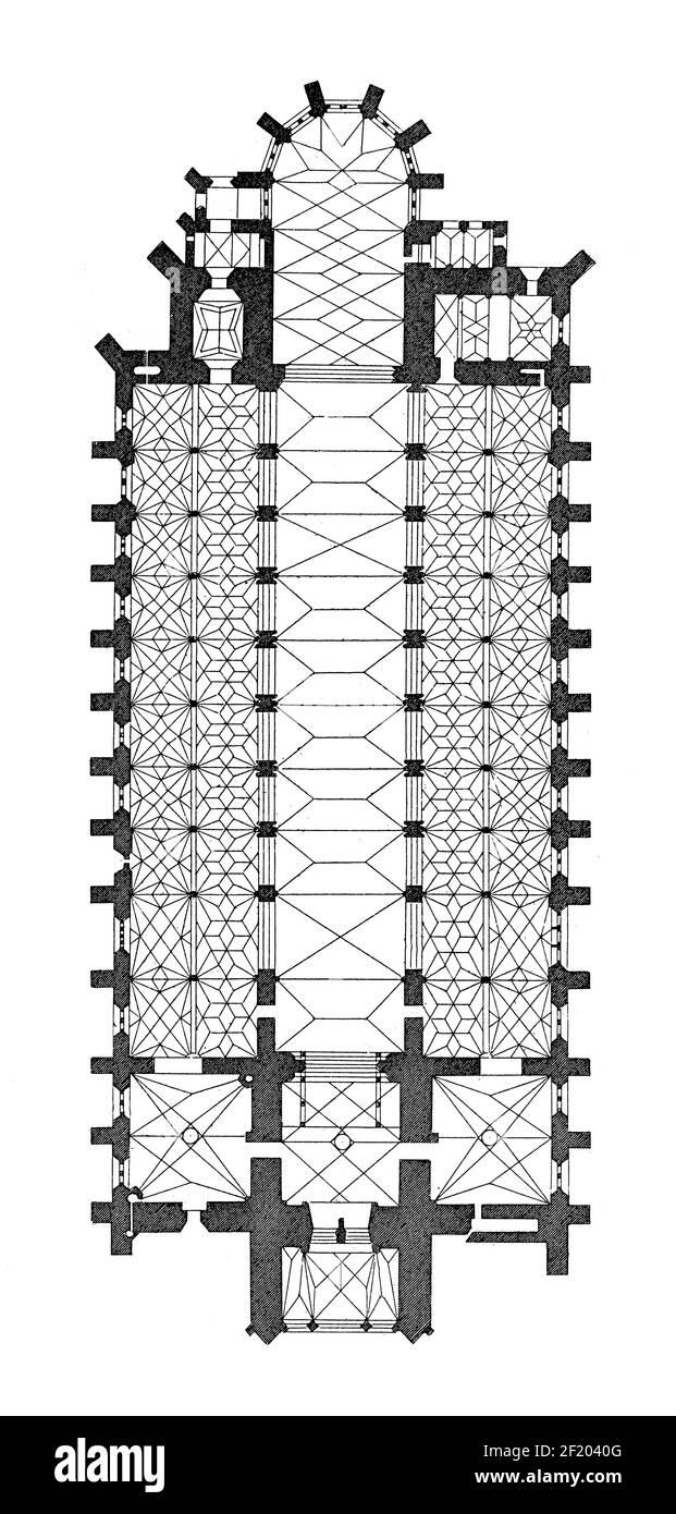 19th-century illustration of floor plan of Ulm Minster. Published in Systematischer Bilder-Atlas zum Conversations-Lexikon, Ikonographische Encyklopae Stock Photo