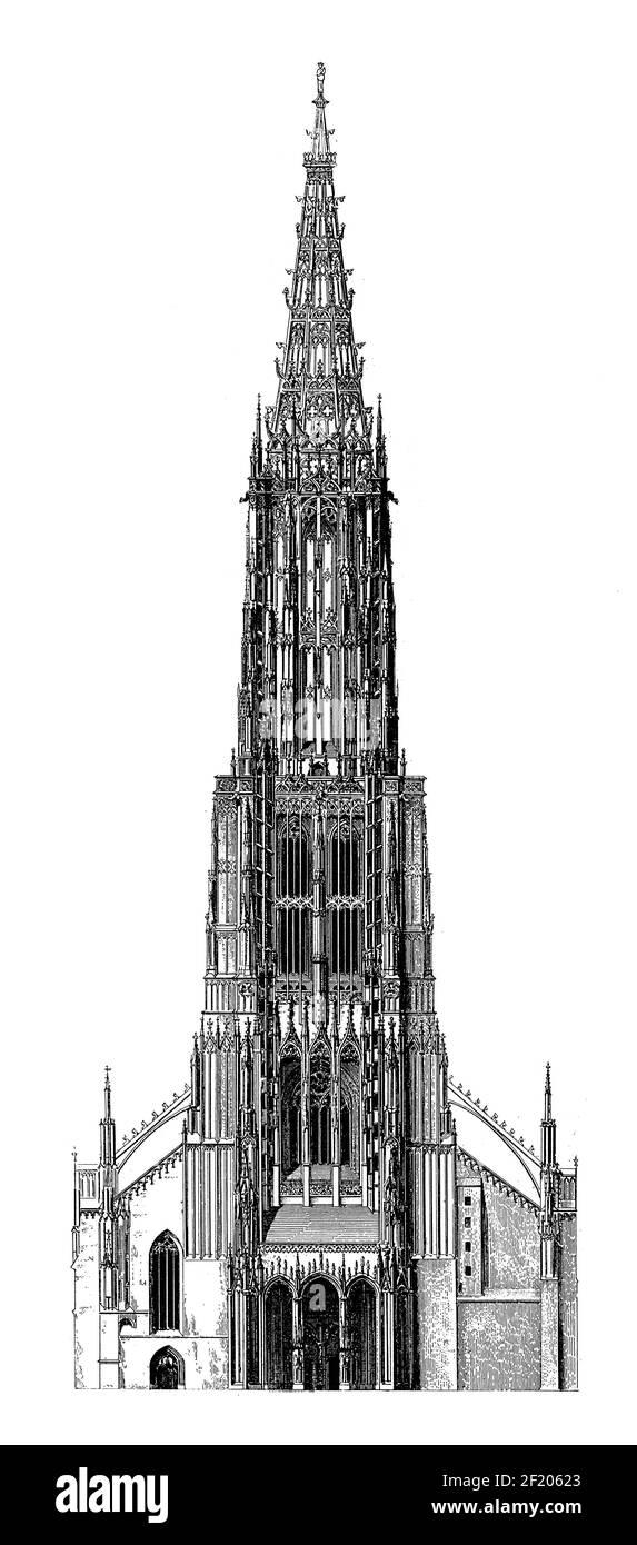 Antique 19th-century engraving of Ulm Minster. Published in Systematischer Bilder-Atlas zum Conversations-Lexikon, Ikonographische Encyklopaedie der W Stock Photo