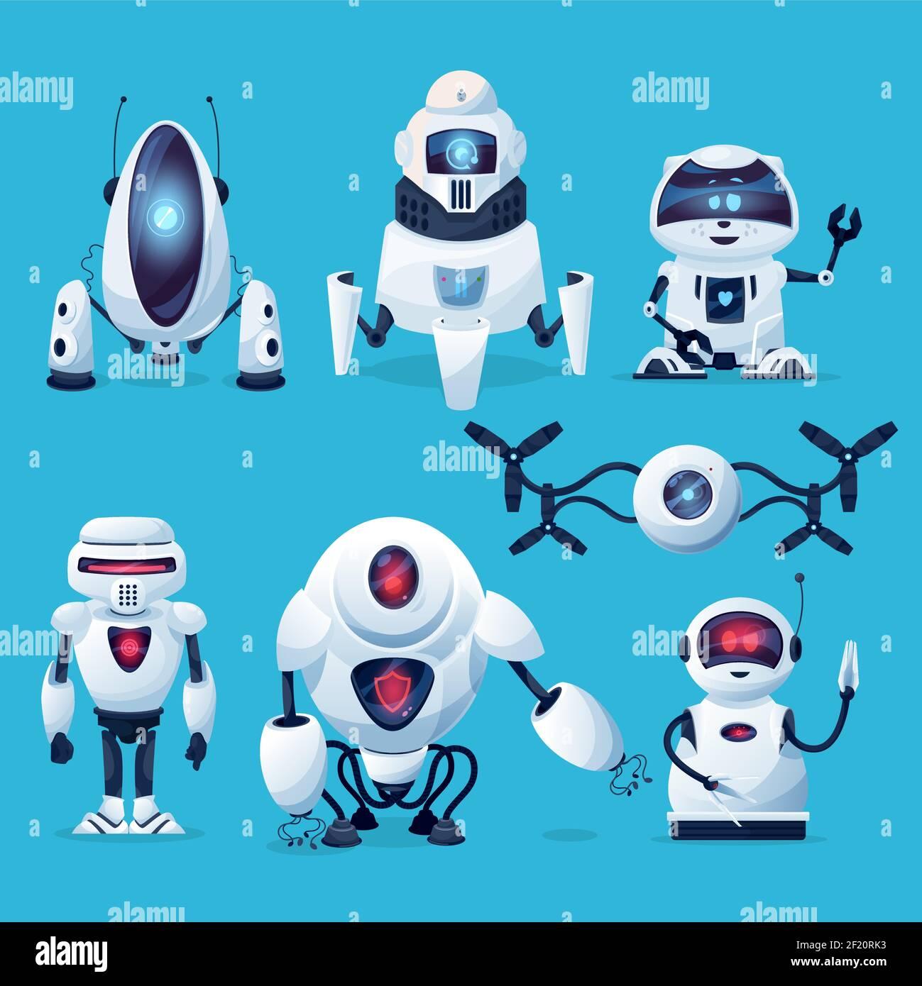 Cartoon robots, vector cyborg characters, toys, pets or bots ...