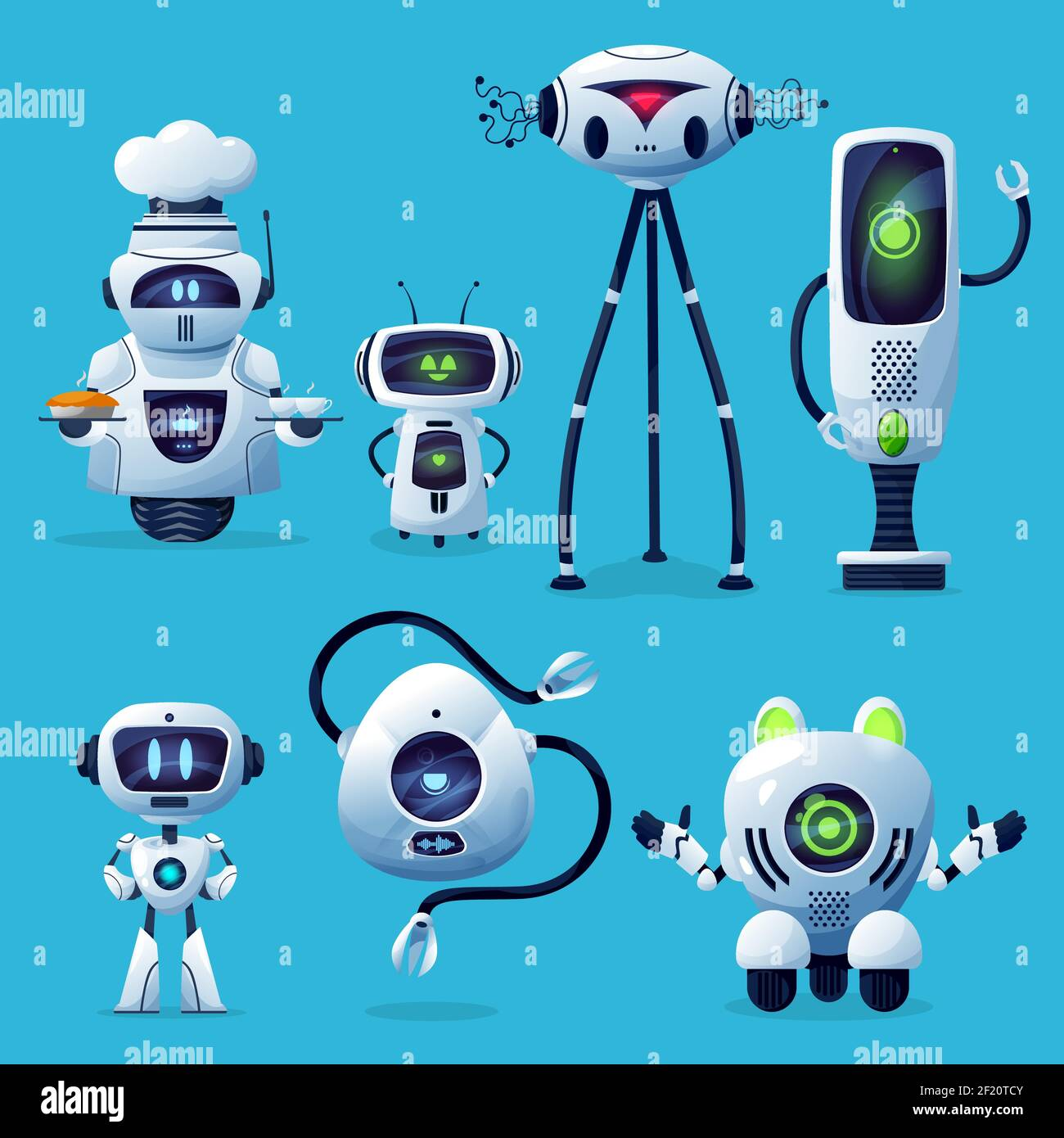 Cartoon robots vector icons, cute cyborg characters, toys or bots ...