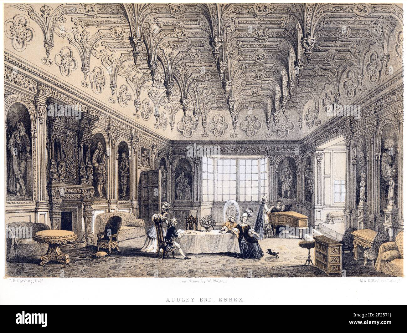 A lithotint of Audley End, Essex UK scanned at high resolution from a book printed in 1858. The artist J D Harding died in 1863. Stock Photo