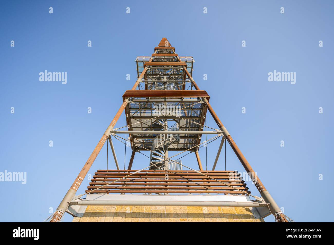 Lookout tower Cizovka is fairly new tower ner Cesky Raj - Czech Paradise. Sunny weather with clear sky. Stock Photo