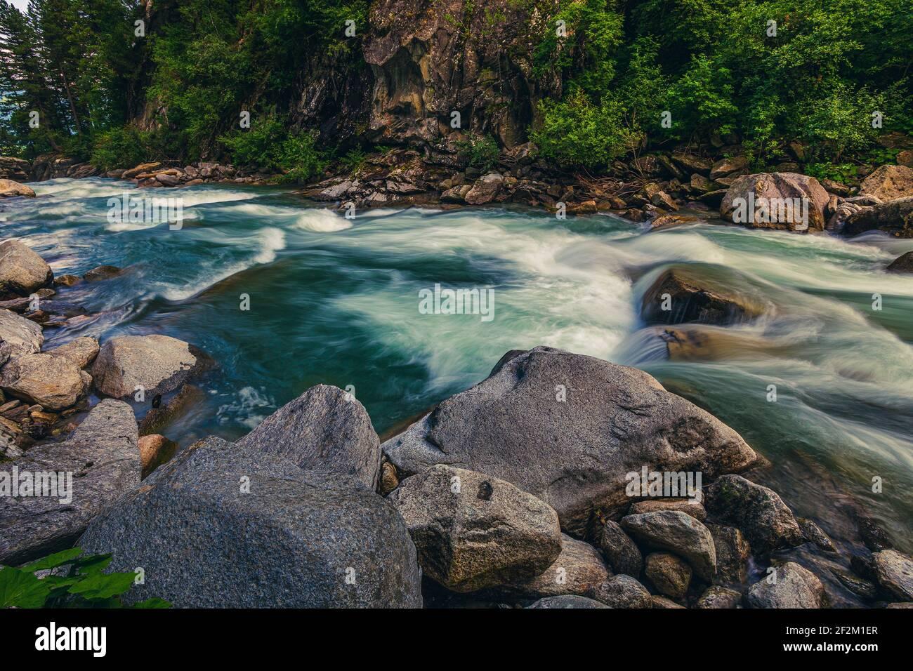 The river Krimmler Ache in the Hohe Tauern National Park in Austria. The Krimmler Ache forms the Krimmler waterfalls. Stock Photo