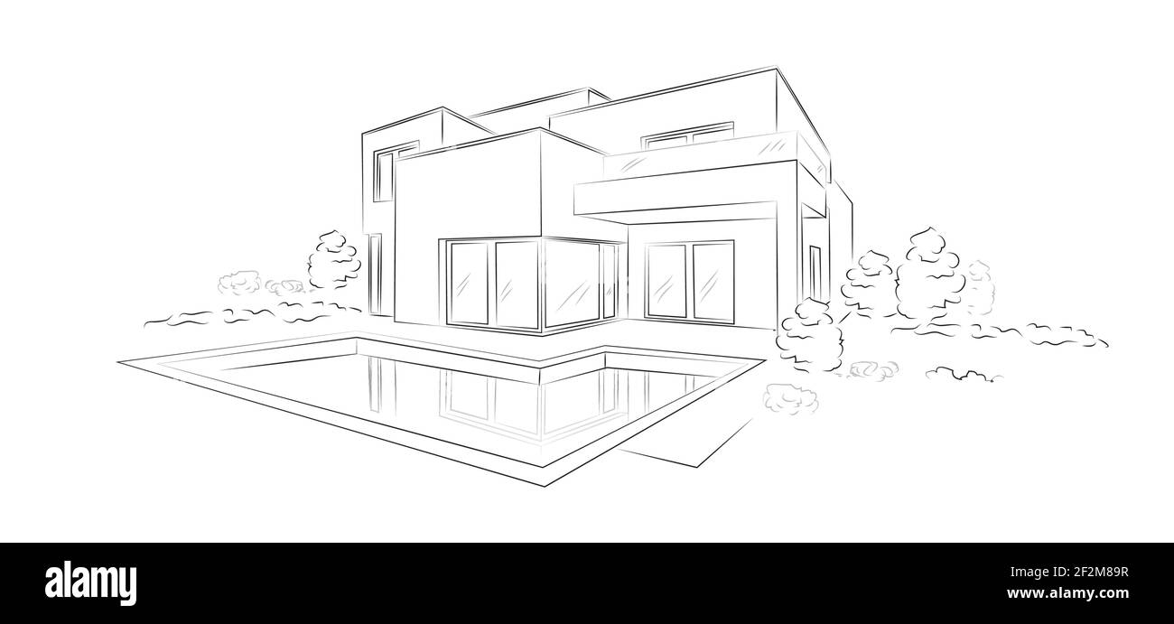 Linear architectural sketch modern detached house - vector illustration. Stock Vector