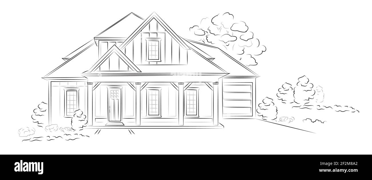 Vector Linear architectural sketch modern detached house Stock Vector