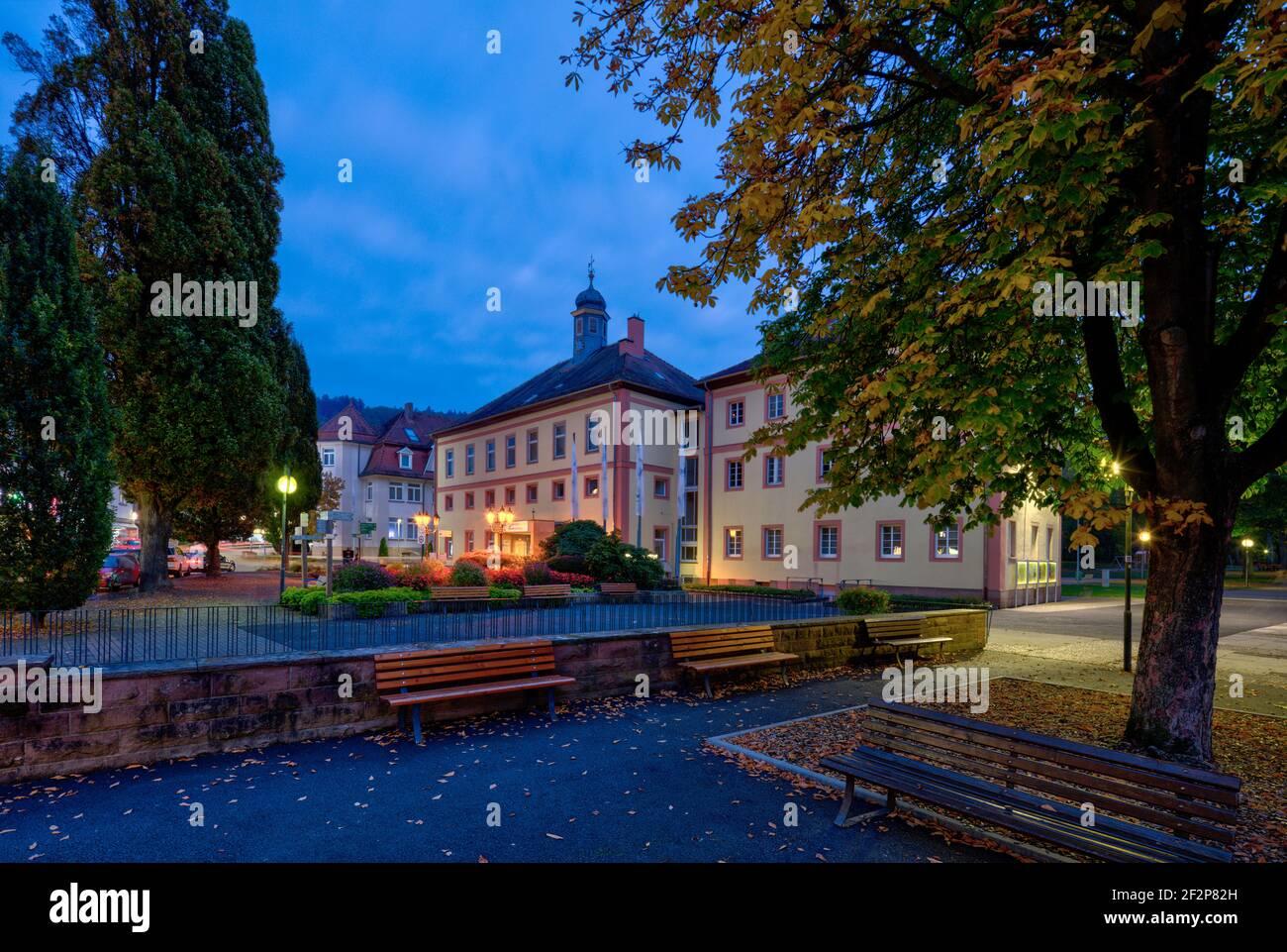 Salinenplatz, spa administration, tourist office, park, green area, Bad Orb, Main-Kinzig-Kreis, Hessen, Germany, Europe Stock Photo
