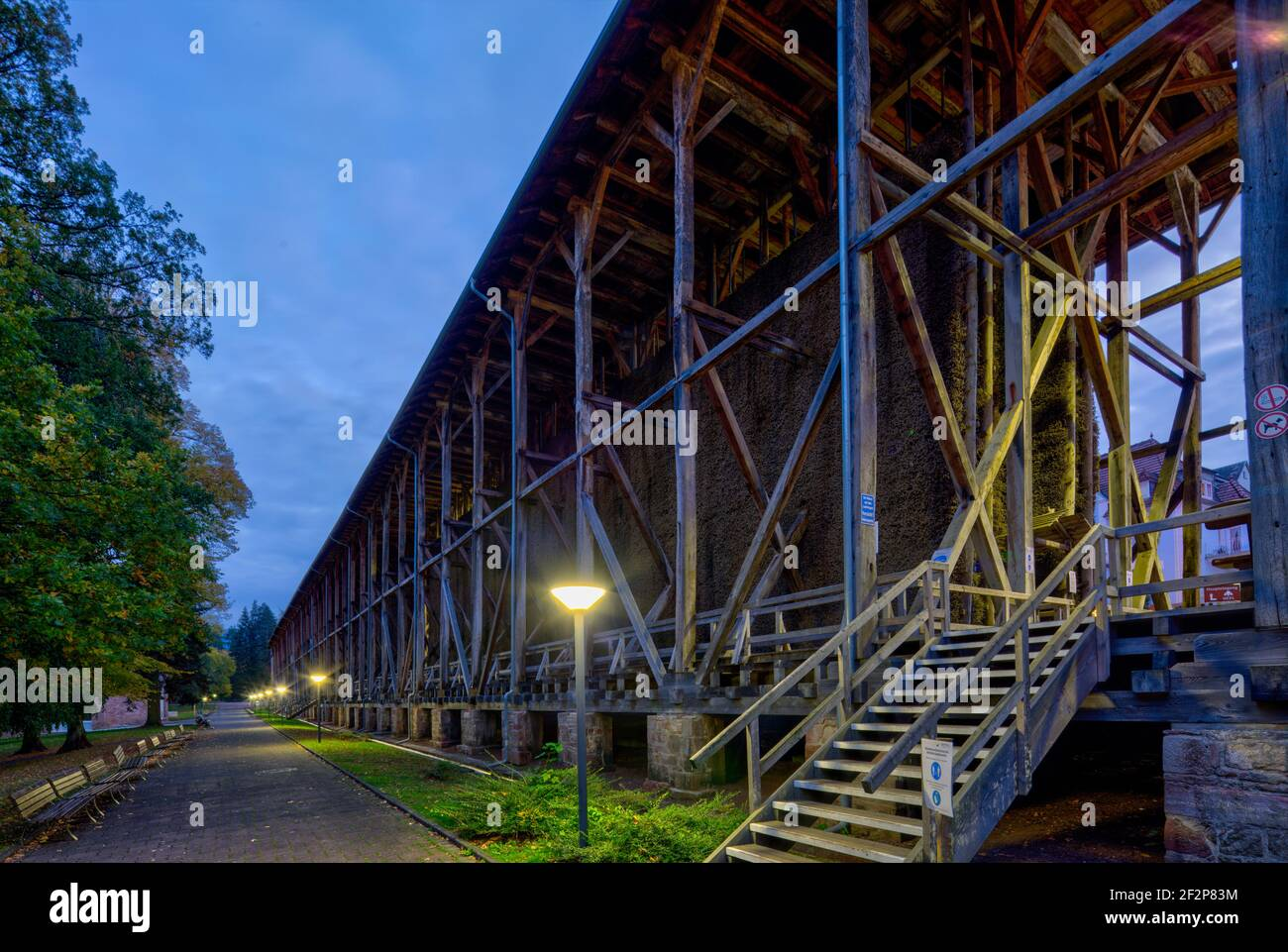 Spa gardens, graduation tower, blue hour, park, green area, Bad Orb, Main-Kinzig-Kreis, Hessen, Germany, Europe Stock Photo