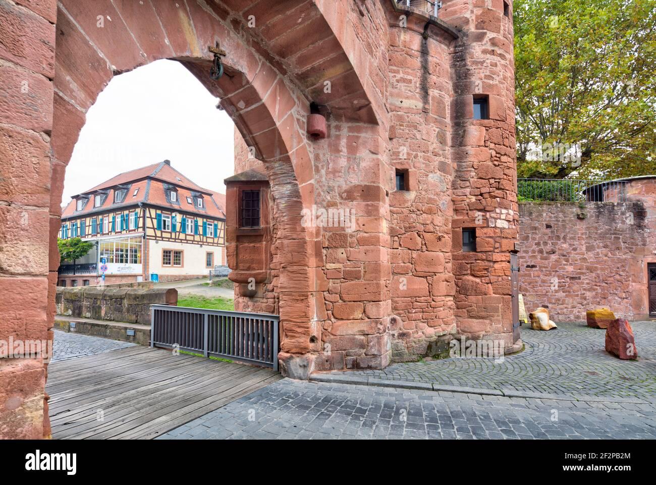 Jerusalem Gate, Untertor, city wall, city fortifications, historic old town, Büdingen, Hessen, Germany, Europe Stock Photo
