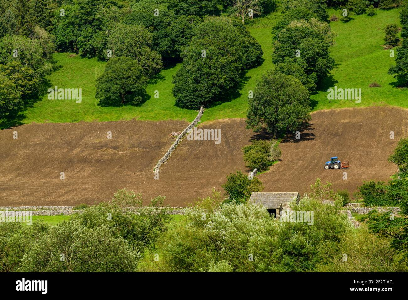 Tractor working on high slopes of scenic steep-sided hillside field (tilling harrowing soil for seeding) - Wharfe Valley, North Yorkshire, England UK. Stock Photo