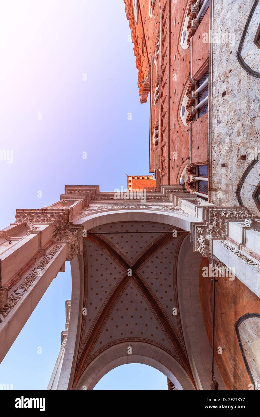 Main entrance to the Palazzo Pubblico in Siena. Tuscany, Italy Stock Photo