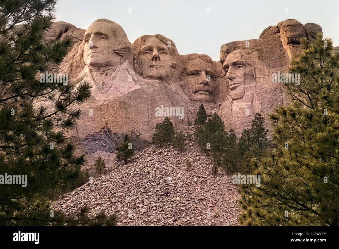 Presidents sculptures at Mount Rushmore National Memorial, South Dakota, USA Stock Photo