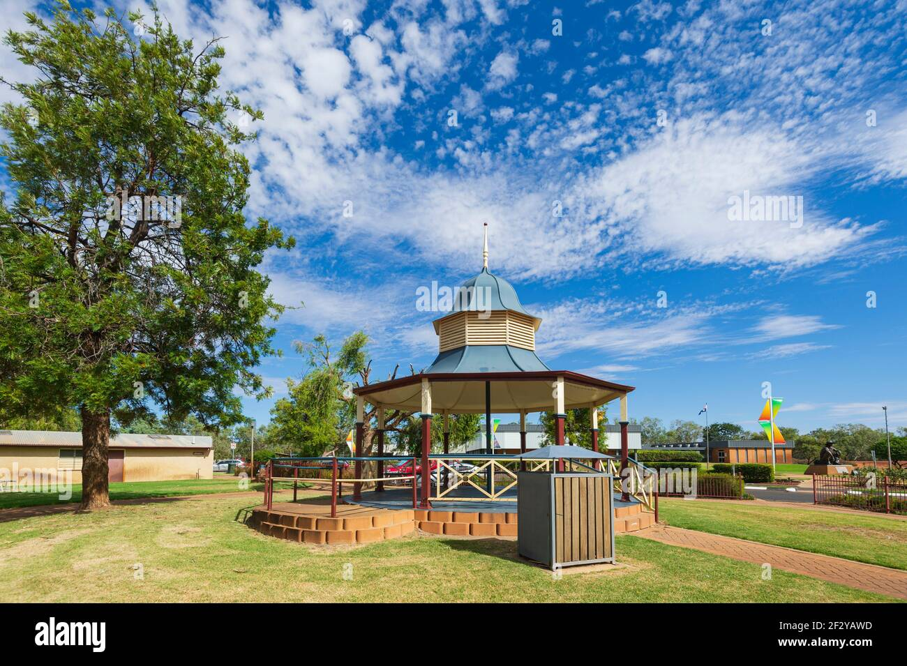 Scenic view of a pavillion in a public park in the small rural town of Cunnamulla, Queensland, QLD, Australia Stock Photo