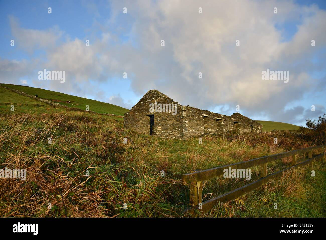 Irish landscape with an abandoned stone house in the countryside of Doolin in County Clare, Ireland. Stock Photo