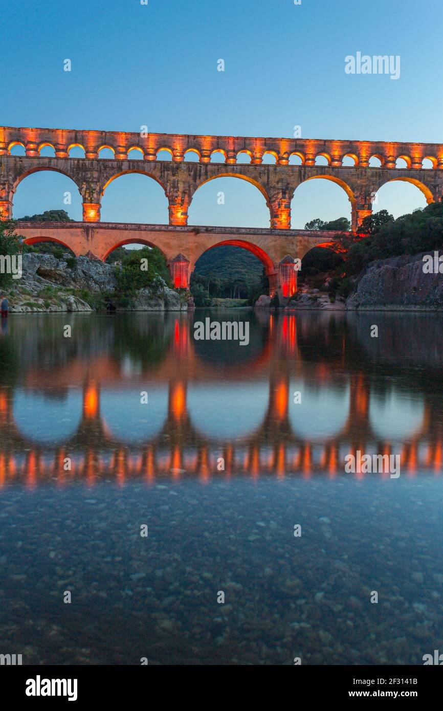 The Pont du Gard is a Roman aqueduct in the south of France Stock Photo