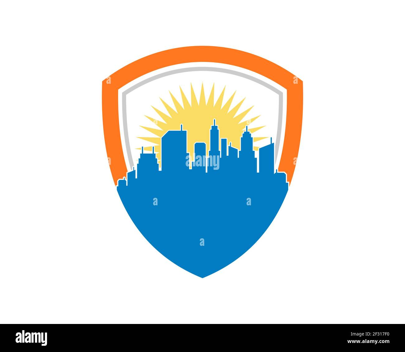 City building with shield protection shape Stock Photo