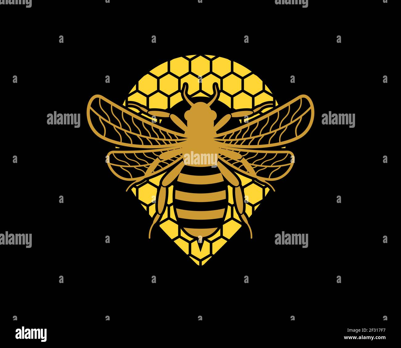 Flying bee in the beehive with pin location shape Stock Photo
