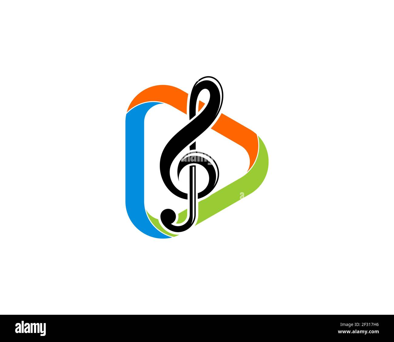 Media play button with music note inside Stock Photo