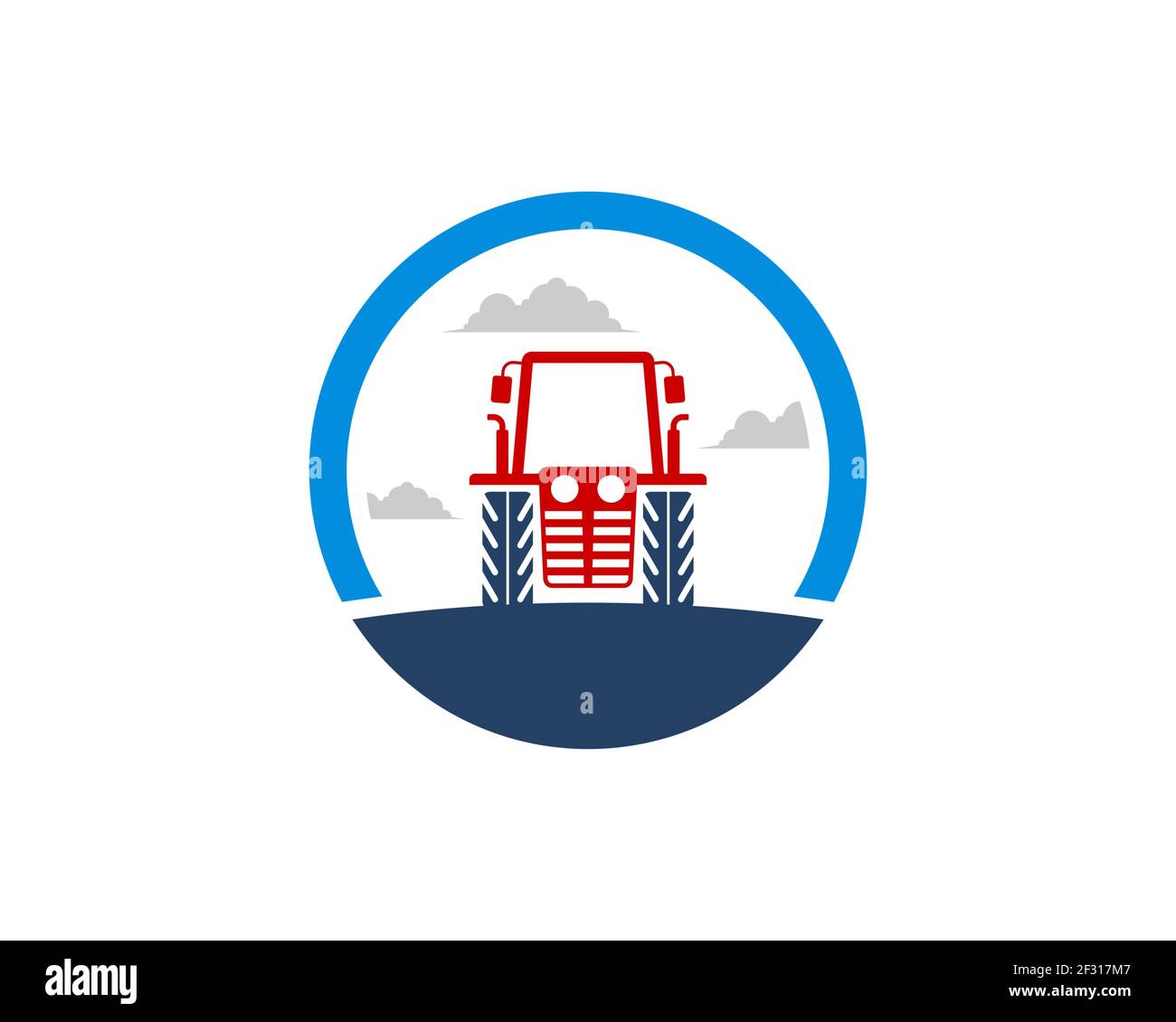 Circle shape with farm tractor in the field Stock Photo
