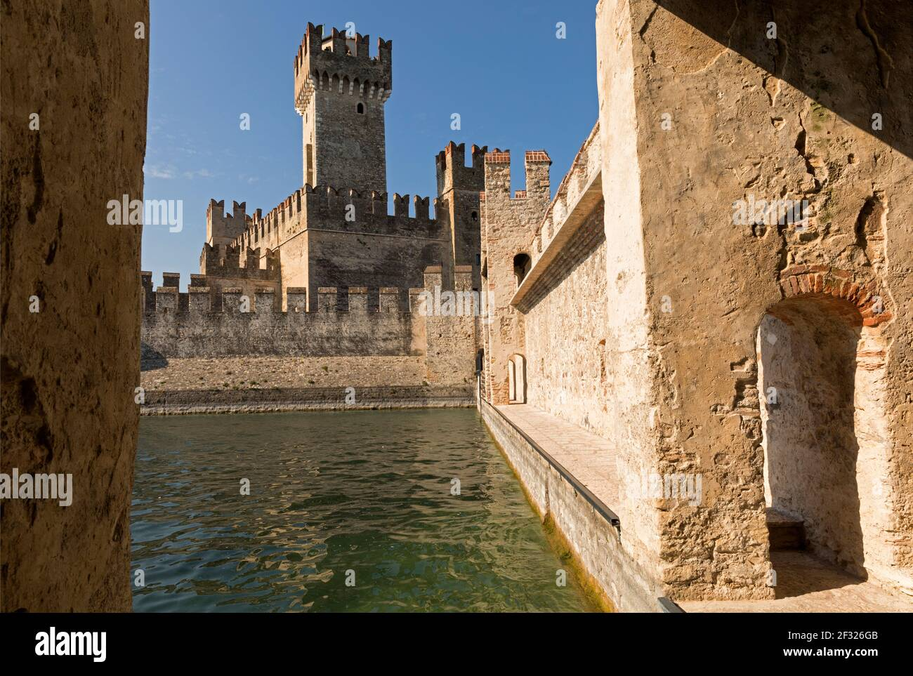 Italy,Sirmione, Lake Garda, the Rocca Scaligera castle built in the 13th century Stock Photo