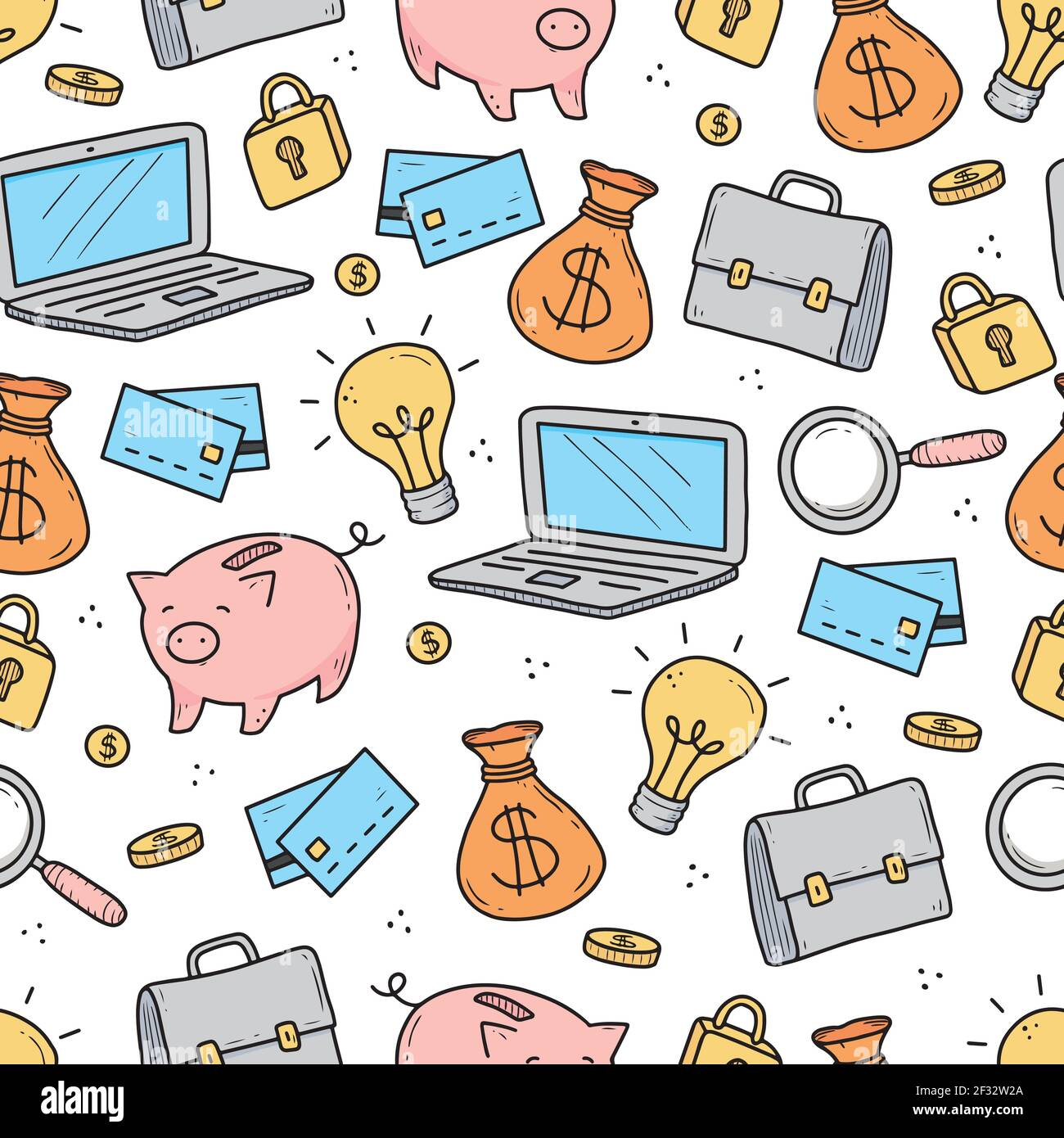 Hand Drawn Seamless Pattern Of Business And Finance Elements Money Calculator Coin Doodle Sketch Style Business Element Drawn By Digital Pen Vector Illustration For Wallpaper Background Textile Design Stock Vector Image
