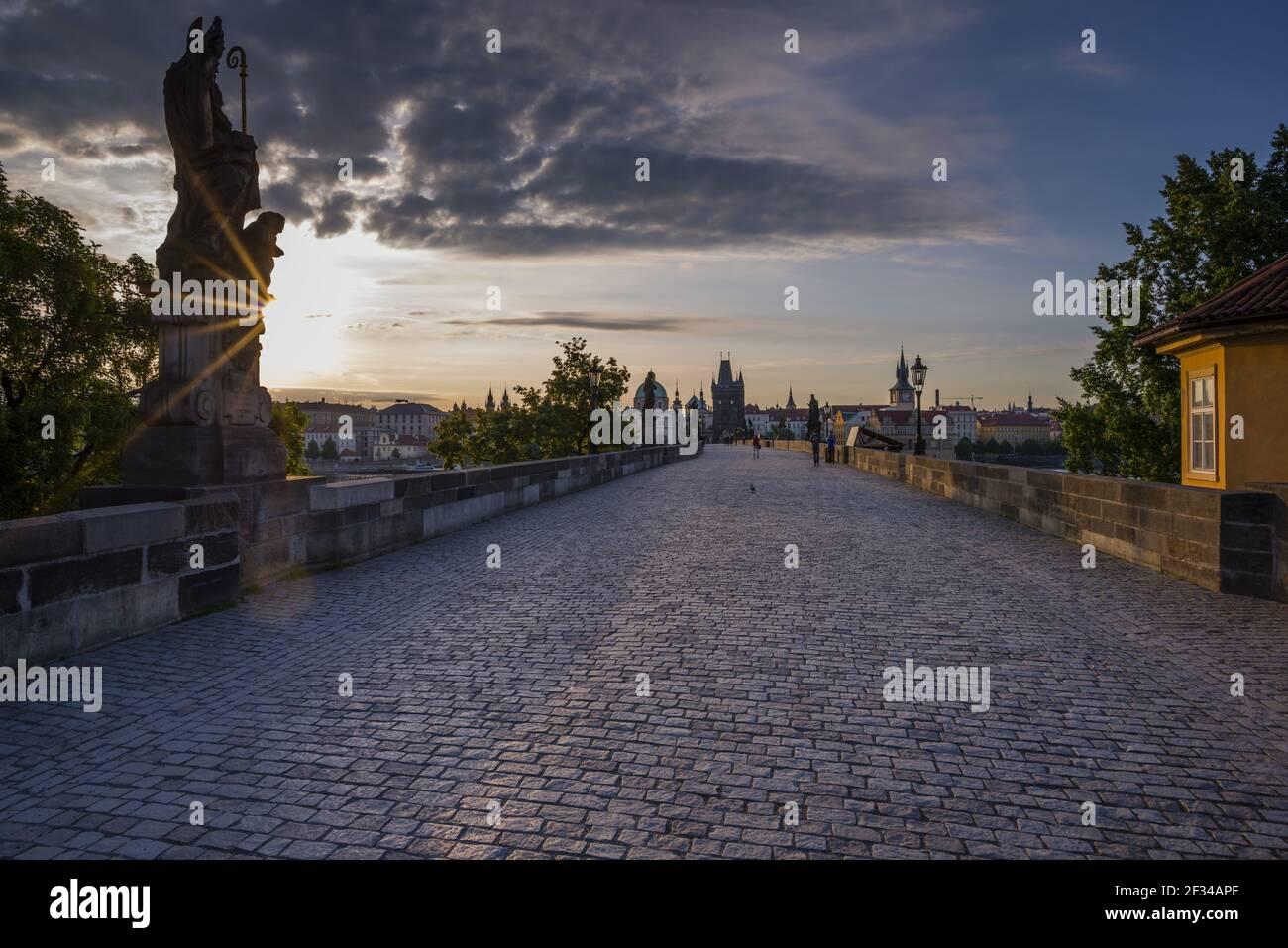geography / travel, Czechia, Charles Bridge with Old Town bridge tower, UNESCO World Heritage Site, Prague, Czechia, Freedom-Of-Panorama Stock Photo