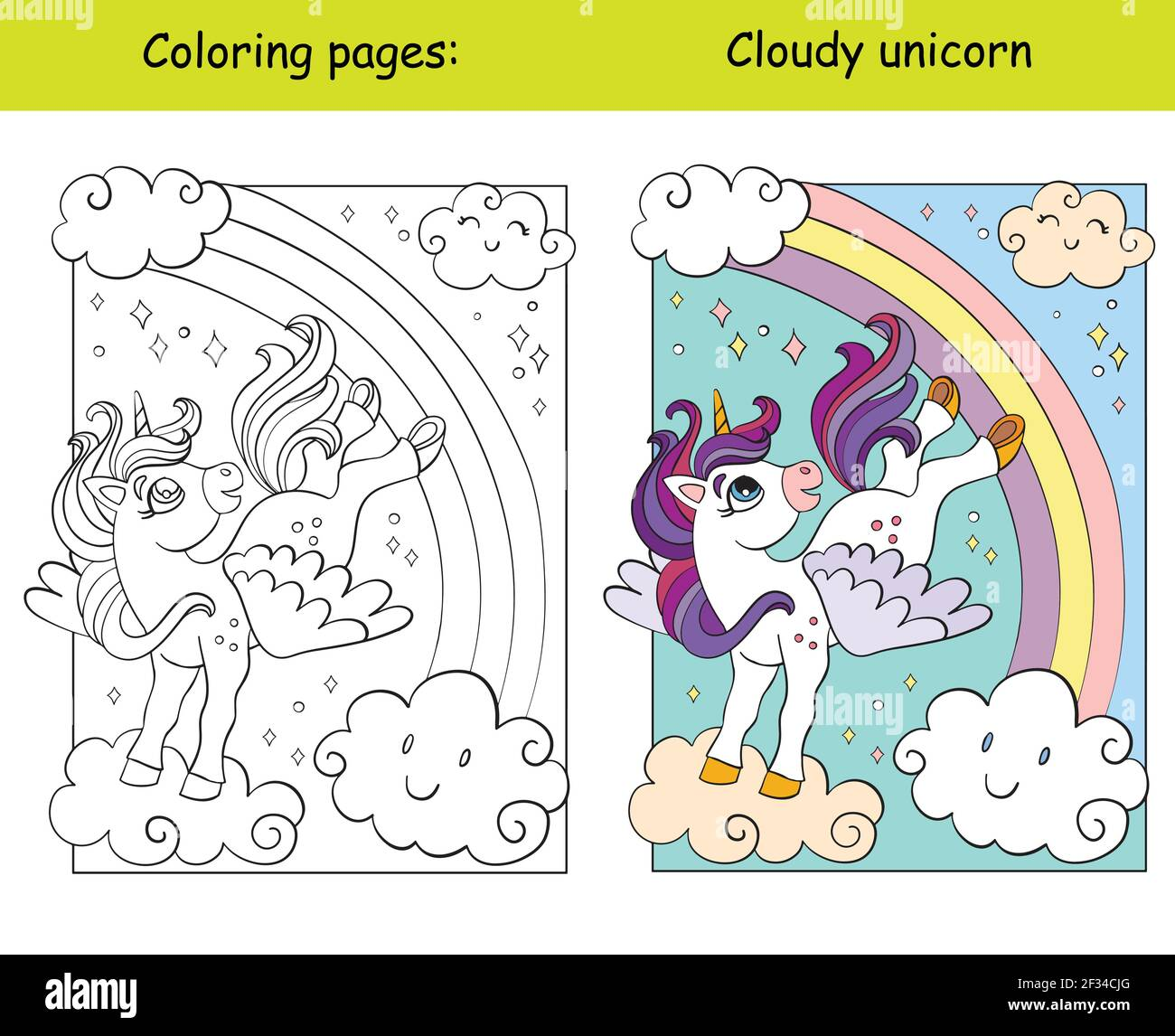Cute unicorn with wings flying in the sky. Coloring book page for children with colorful template. Vector cartoon isolated illustration. For coloring Stock Vector