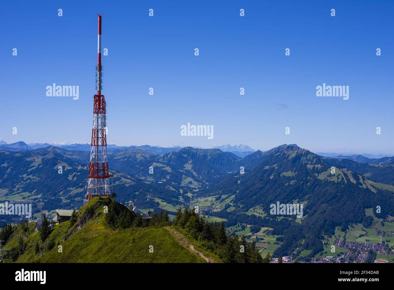 geography / travel, Germany, Bavaria, transmission tower of the Bavarian broadcast, Gruenten, 1738m, Iller Valley, Allgaeu Alps, , Freedom-Of-Panorama Stock Photo