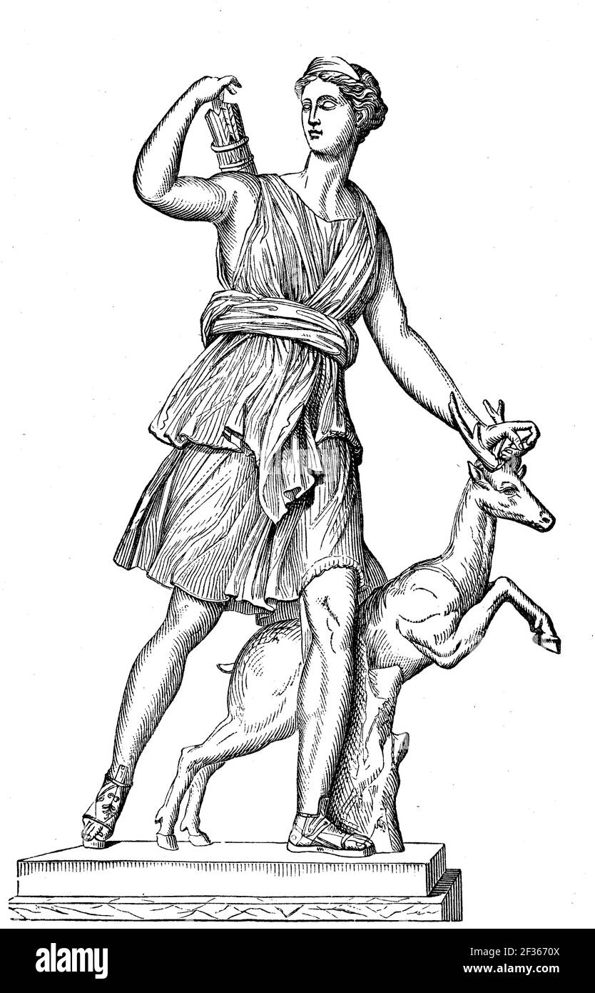 Diana is the goddess of hunting, moon and childbirth in Roman mythology, protector of women and girls, after a statue in Versailles, France, illustration from 1880  /  Diana ist in der römischen Mythologie die Göttin der Jagd, des Mondes und der Geburt, Beschützerin der Frauen und Mädchen, nach einer Statue in Versailles, Frankreich, Illustration aus 1880, Historisch, historical, digital improved reproduction of an original from the 19th century / digitale Reproduktion einer Originalvorlage aus dem 19. Jahrhundert, Stock Photo