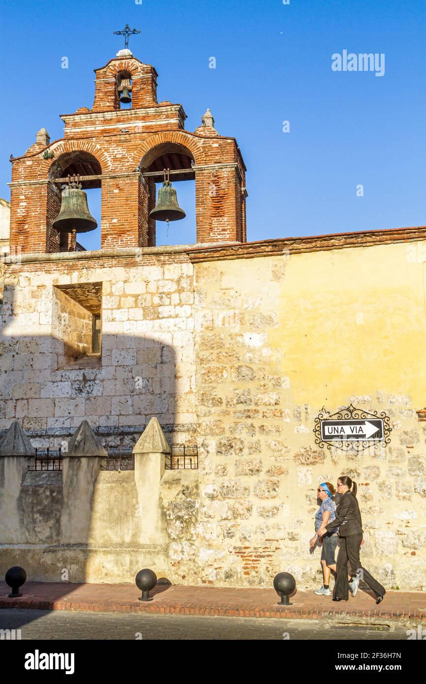 Dominican Republic Santo Domingo Ciudad Colonia Zona Colonial, Basilica Santa María La Menor National Cathedral 1541, Gothic style Catholic bell tower Stock Photo