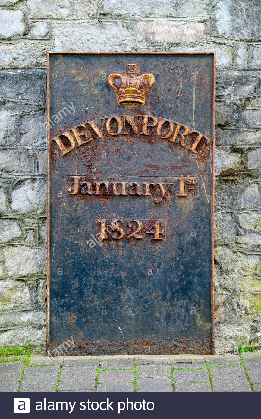 The town plaque bearing a crown the word Devonport and the date of January 1st 1824 commemorating the naming of Devonport in Plymouth England UK Stock Photo