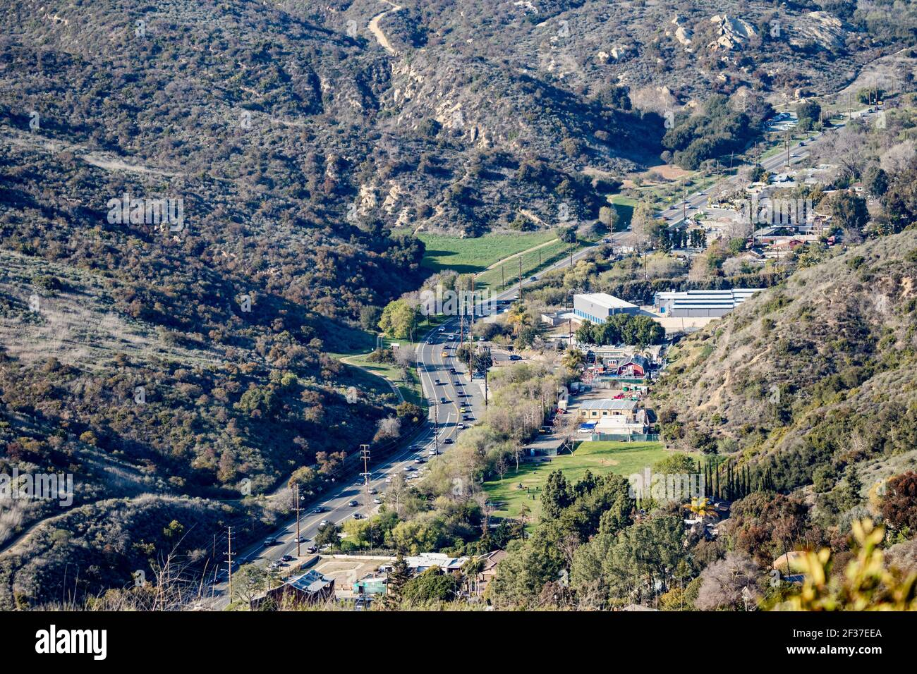 high angle view of a canyon and street in Laguna Beach, California, USA. March 13, 2021 Stock Photo