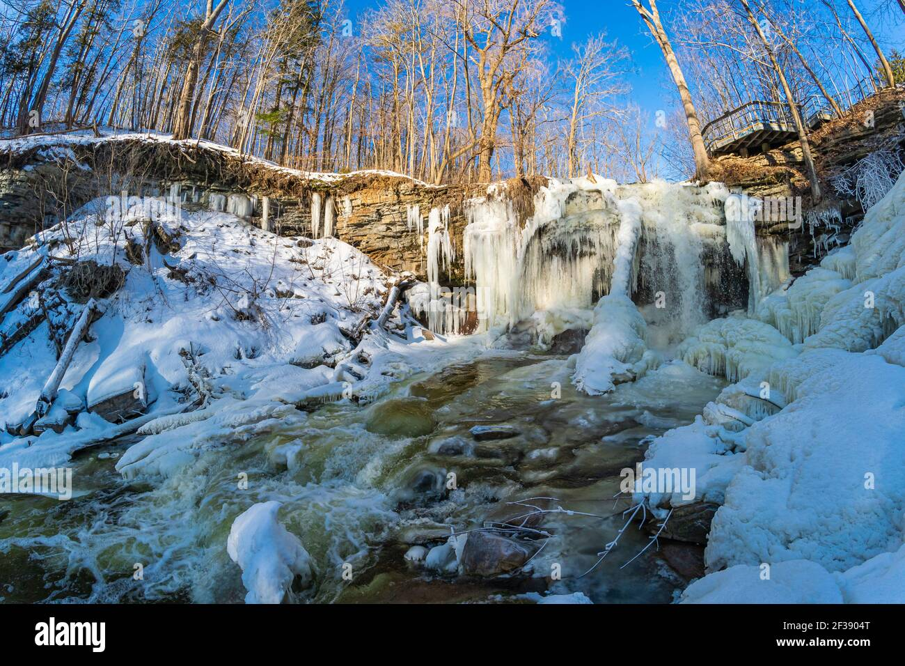 Smokey Hollow Waterfalls Ancaster Hamilton Ontario Canada in winter Stock Photo
