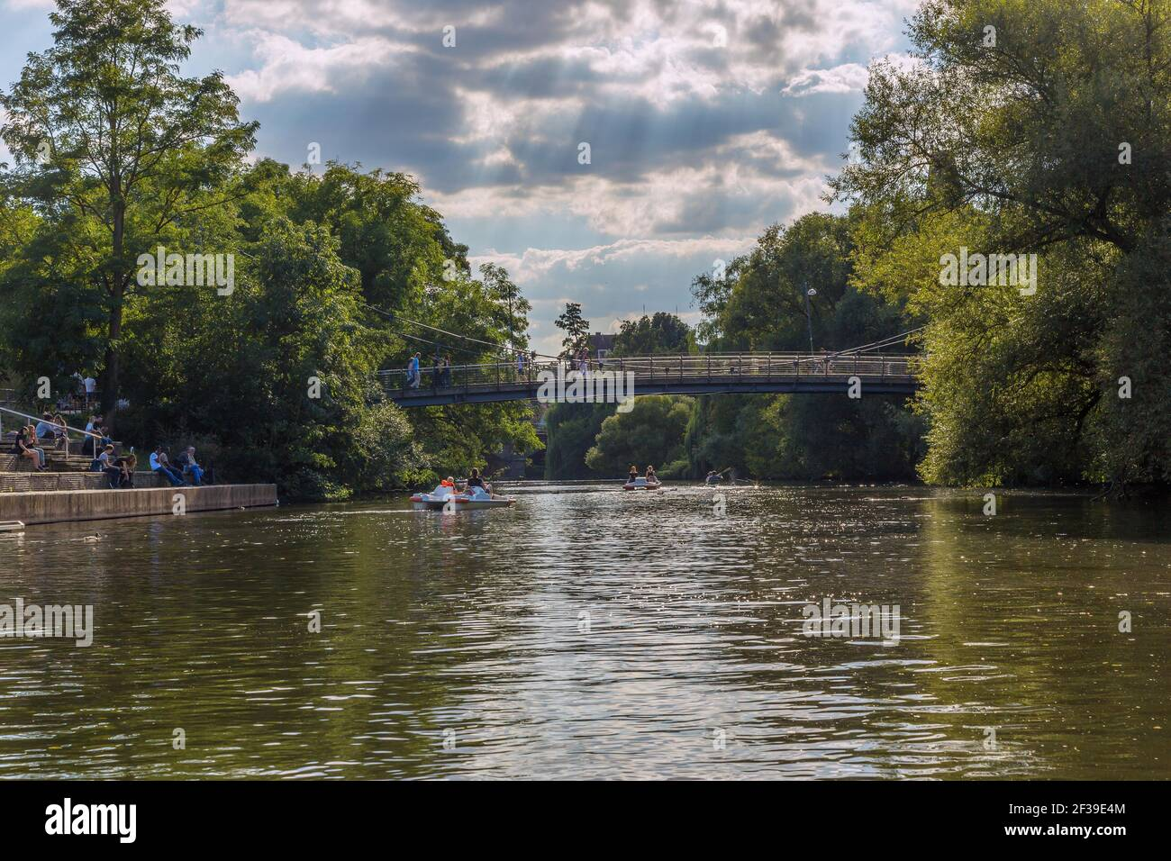 geography / travel, Germany, Hesse, Marburg, Marburg at the Lahn, pedal boat on the Lahn, Abendroth-Br, Additional-Rights-Clearance-Info-Not-Available Stock Photo