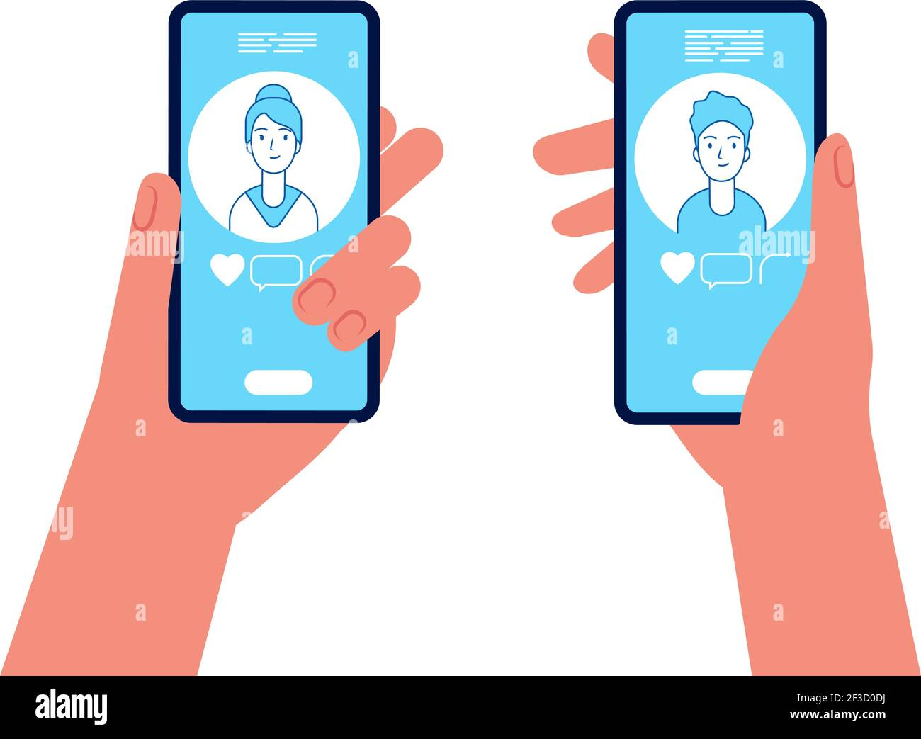 Online dating. Man and woman holding smartphones and see on screen display male and female avatars vector concept Stock Vector