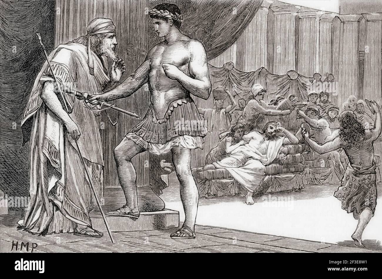 Theseus recognized by his father Aegeus.  Theseus, mythical king and founder-hero of Athens.  Aegeus also spelled Aegeas, in Greek mythology one of the kings of Athens.  From Cassell's Universal History, published 1888. Stock Photo