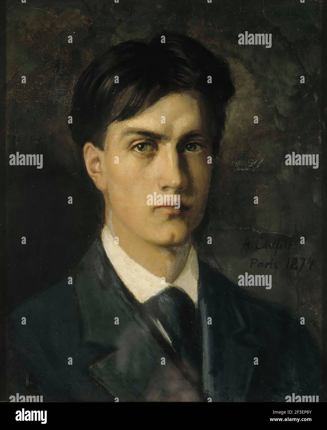 Self-Portrait, 1874. Found in the collection of Ateneum, Helsinki. Stock Photo