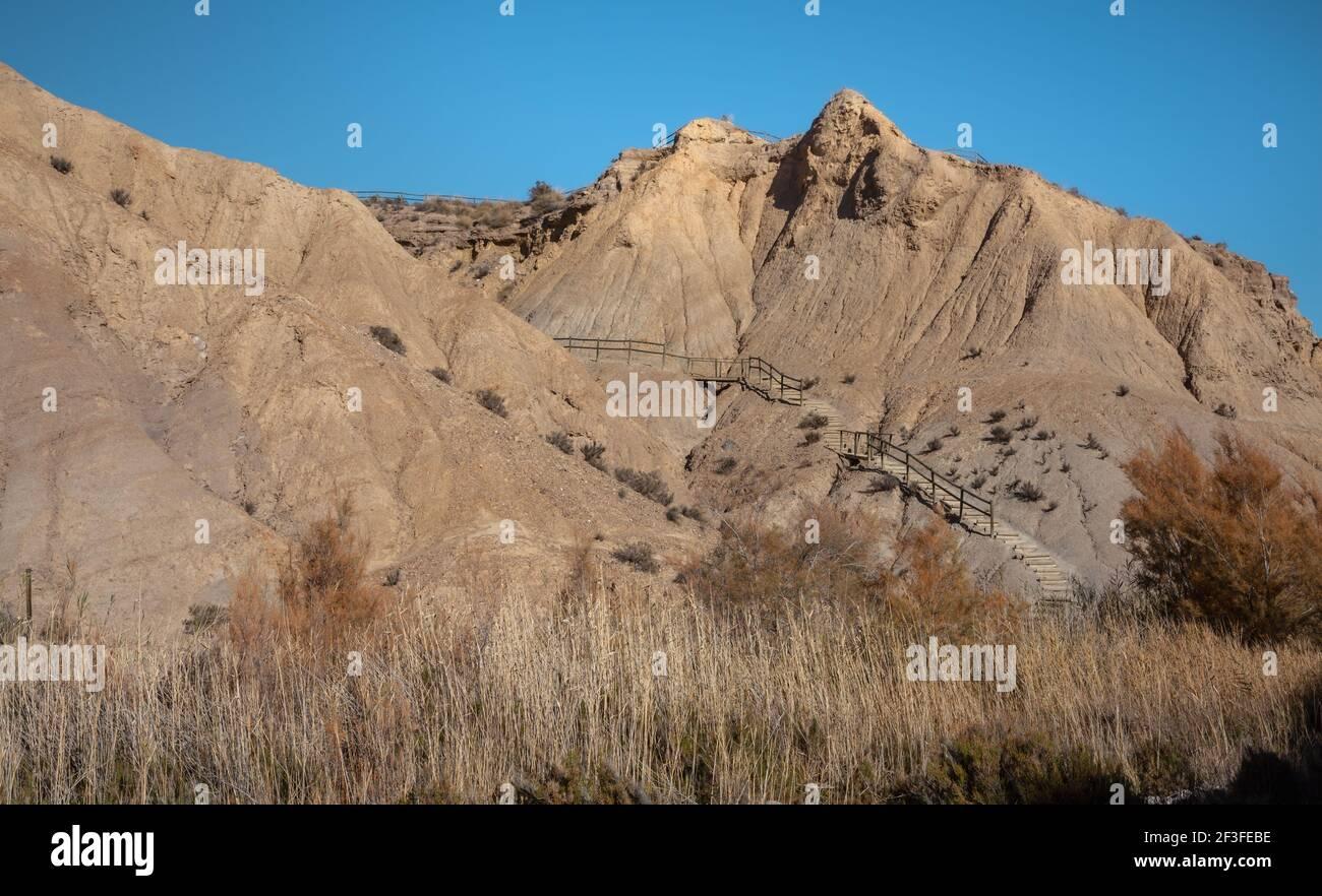 Tabernas Desert Hills Landscape in Almeria Spain  Nature Adventure Travel Europa Stock Photo
