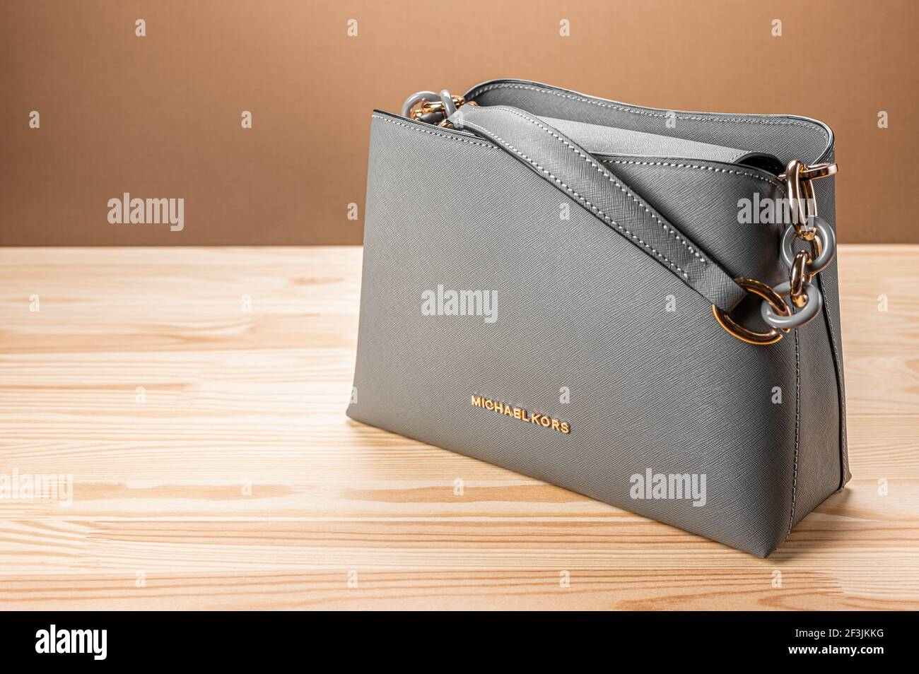 MOSCOW, RUSSIA - MARCH, 17, 2021: new model leather grey handbag ...