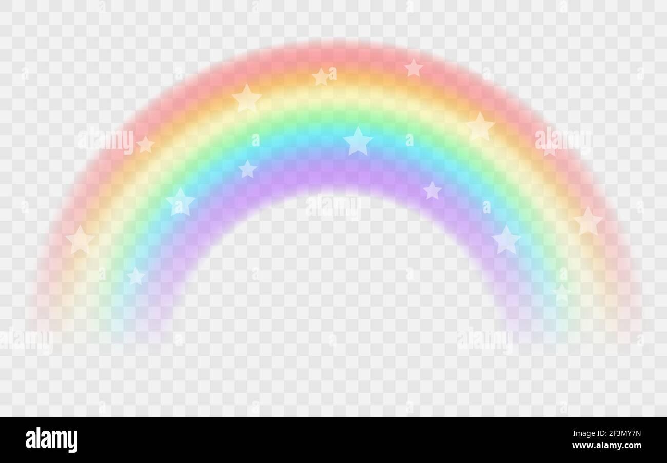 Transparent rainbow with stars. Vector illustration. Realistic raibow on transparent background. Stock Vector