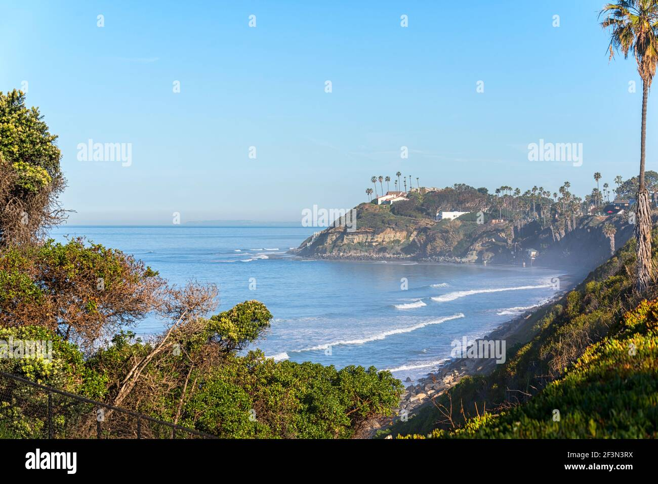 Winter morning in Encinitas, California, USA. The Self Realization Fellowship Hermitage can be seen on the bluff. Stock Photo