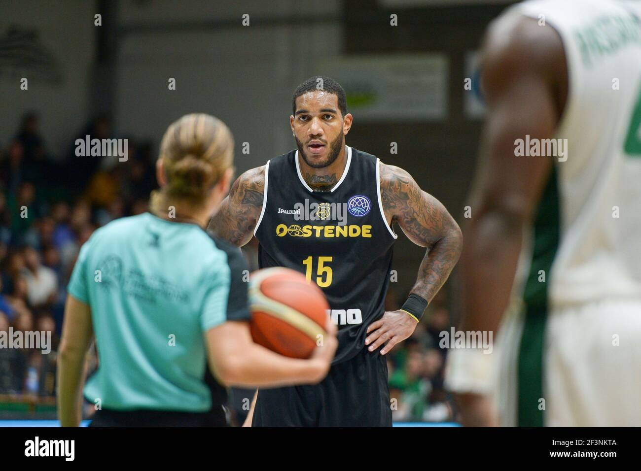 Mike Mayers of Oostende during the Basketball Champions League, Group D, match between Nanterre 92 and Oostende on November 1, 2017 at Palais des Sports in Nanterre, France - Photo I-HARIS / DPPI Stock Photo