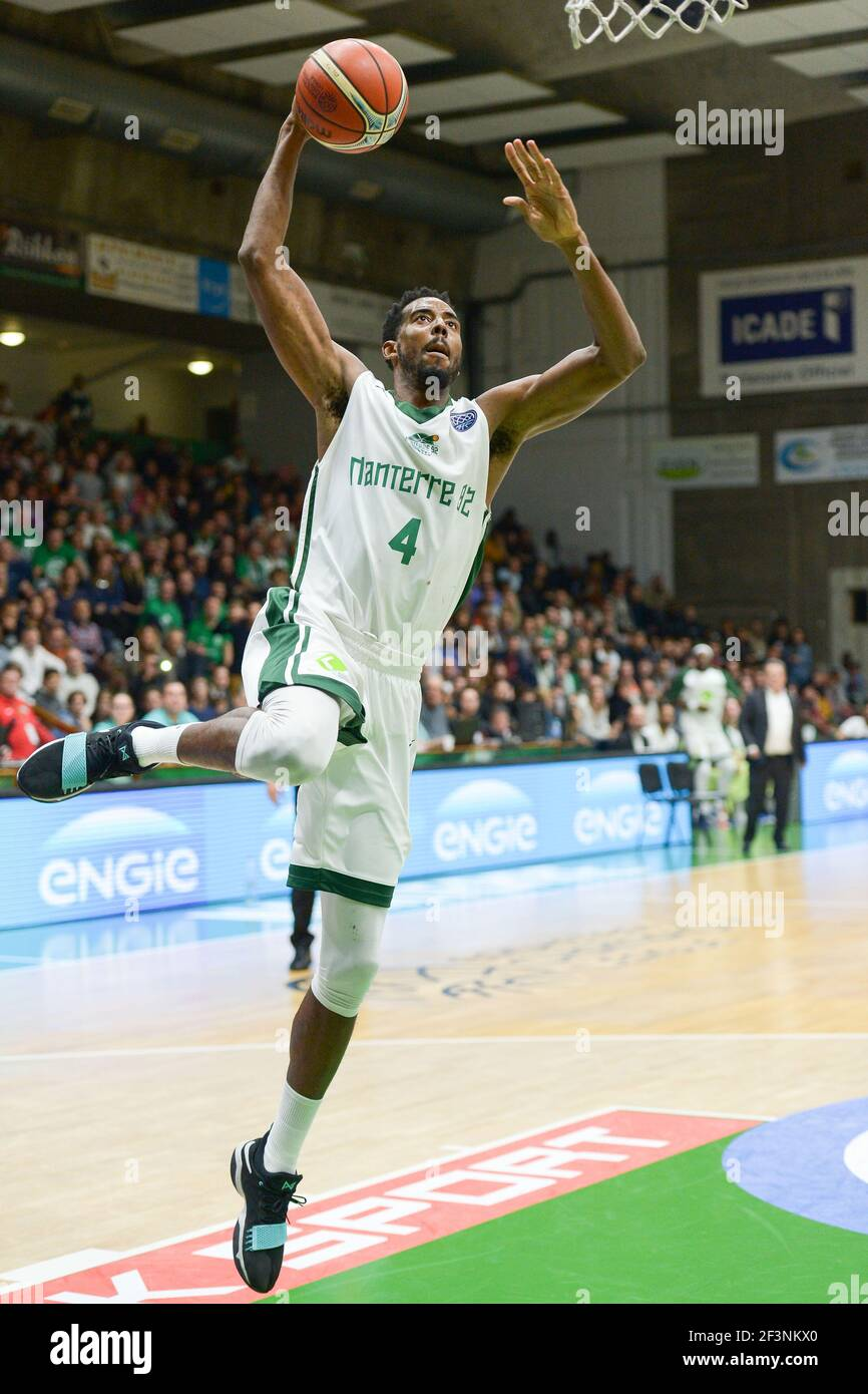 Alade Aminu of Nanterre 92 during the Basketball Champions League, Group D, match between Nanterre 92 and Oostende on November 1, 2017 at Palais des Sports in Nanterre, France - Photo I-HARIS / DPPI Stock Photo