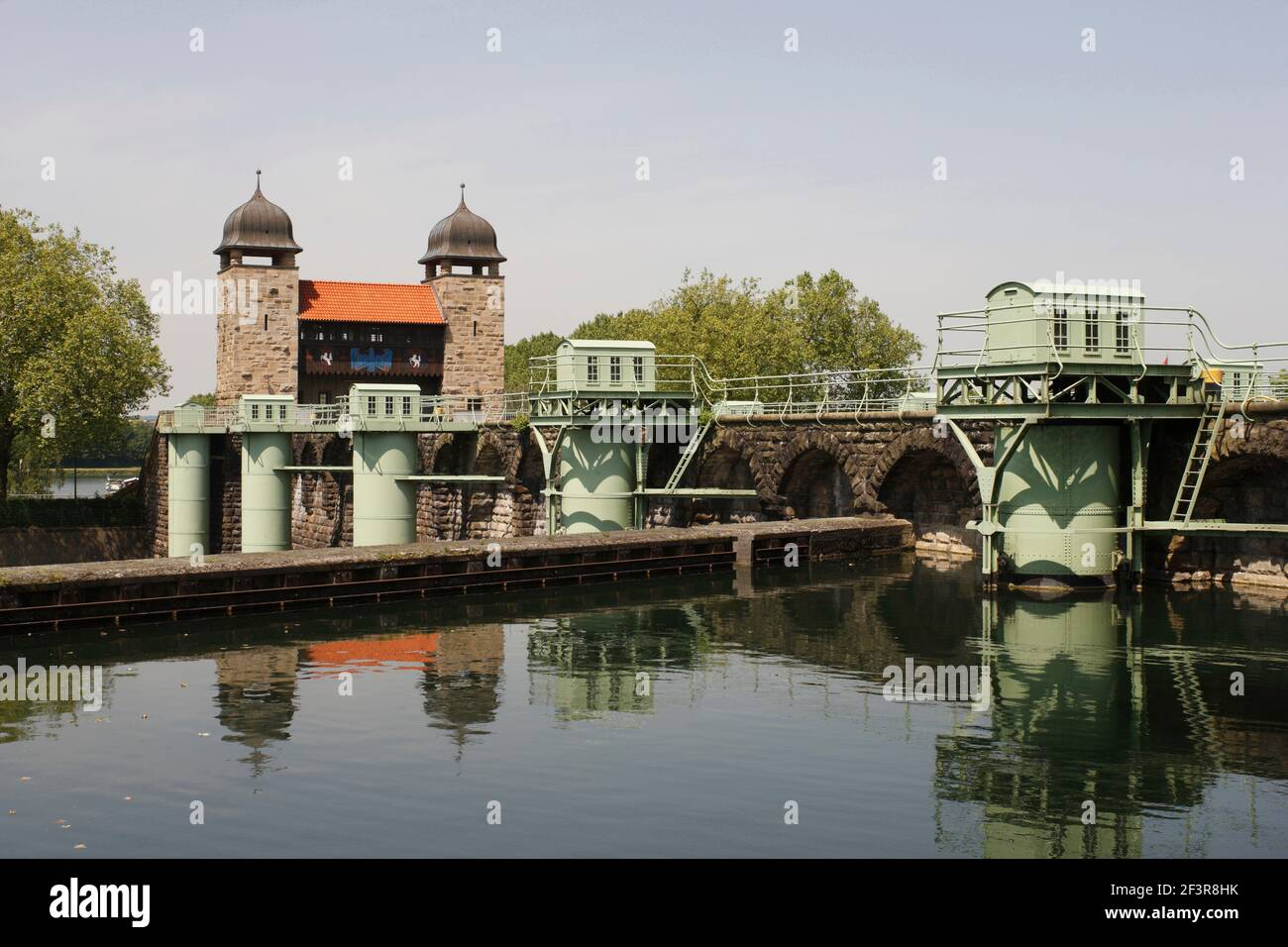 Disused shaft lock from 1912 in Waltrop Lock Park (Schleusenpark) on the Dortmund-Ems Canal in Waltrop-Oberwiese, Germany. Stock Photo