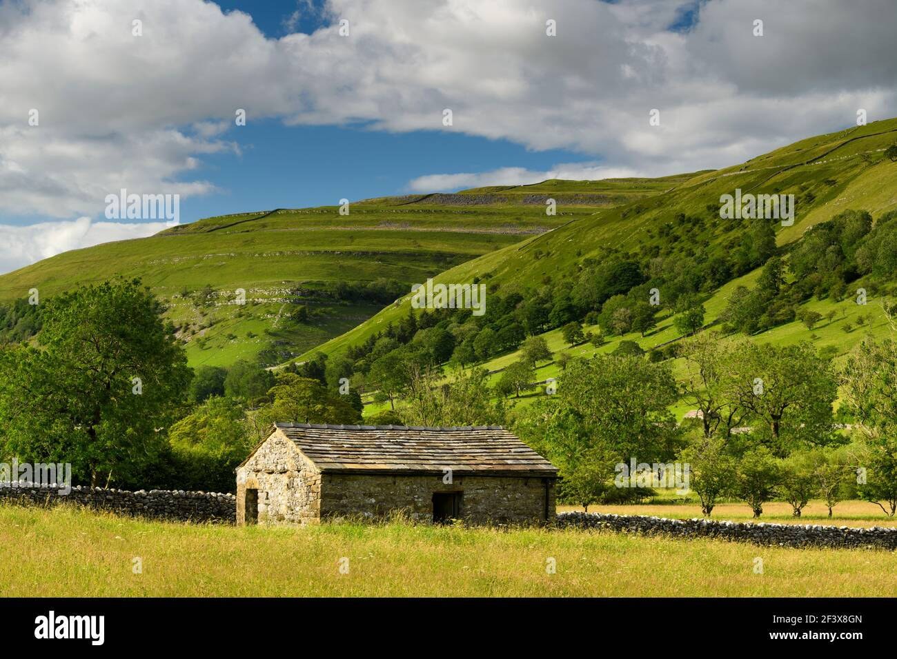 Beautiful sunny Wharfedale countryside (valley, hillsides, field barn, drystone walls, farmland pastures, high hills) - Yorkshire Dales, England, UK. Stock Photo