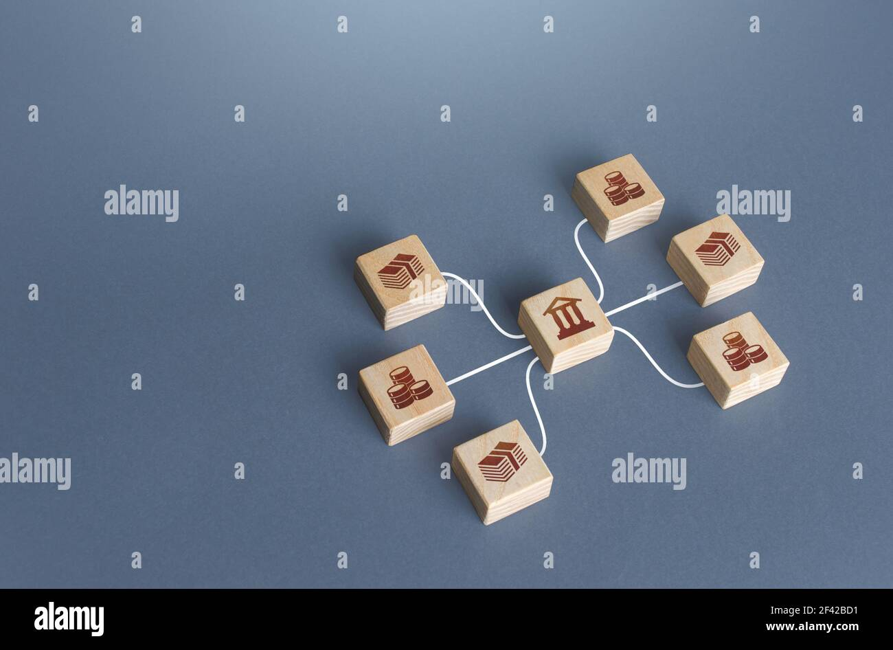 Bank blocks are linked to money by lines. Operation of money funds, transactions. Lending, deposits. Capital Markets. Investment. Borrowing. Capitaliz Stock Photo