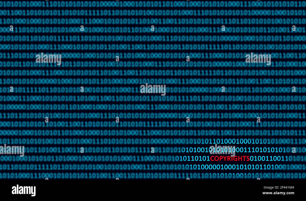 Copyrights detected in binary code. Copyright Detection Property infringements Concept. Copyright auto-detection software concept, Stock Photo