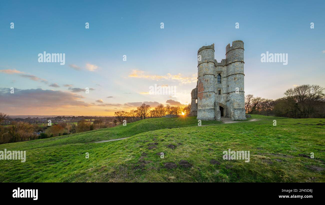 Donnington Castle at sunset with views over countryside, Newbury, Berkshire, England, United Kingdom, Europe Stock Photo