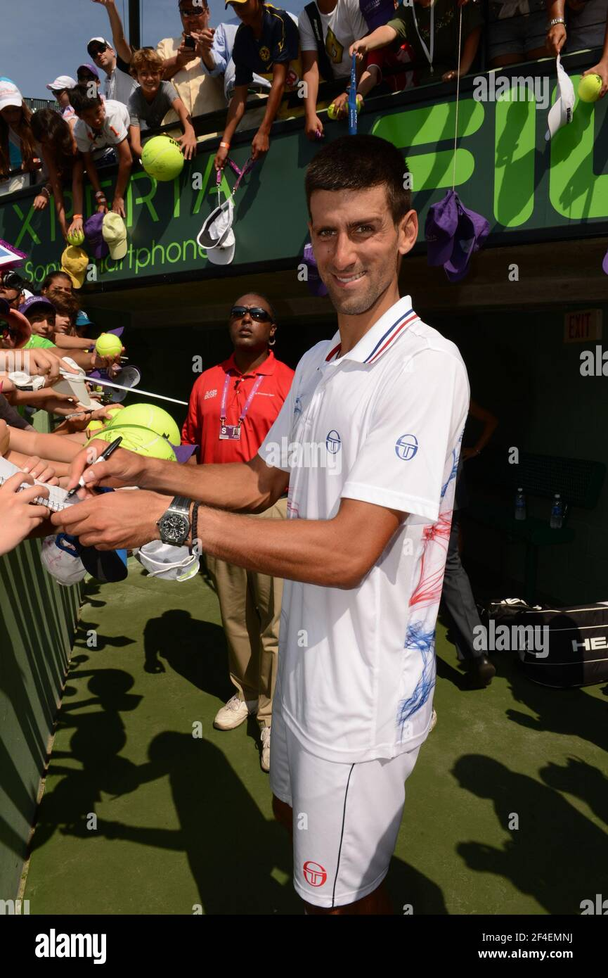 KEY BISCAYNE, FL - APRIL 01: Novak Djokovic of Serbia defeats Andy Murray of Great Britain in the men's singles final on day 14 of the Sony Ericsson Open at Crandon Park Tennis Center on April 1, 2012 in Key Biscayne, Florida.   People:  Novak Djokovic Stock Photo