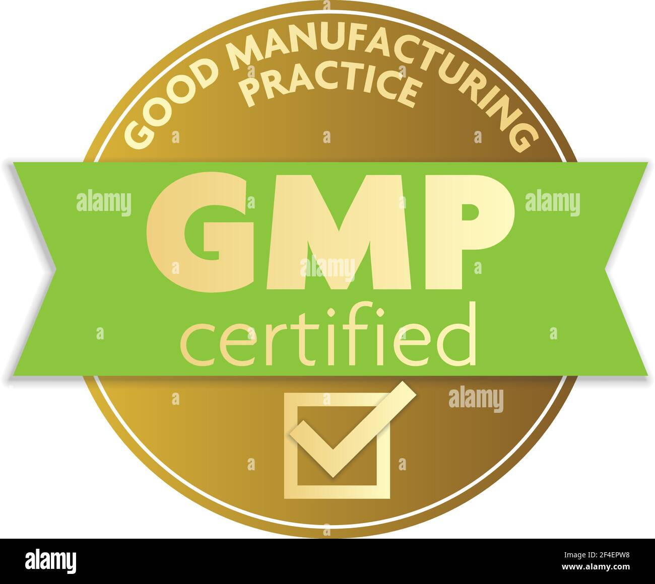 gold colored GOOD MANUFACTURING PRACTICE GMP certifier label or badge vector illustration Stock Vector