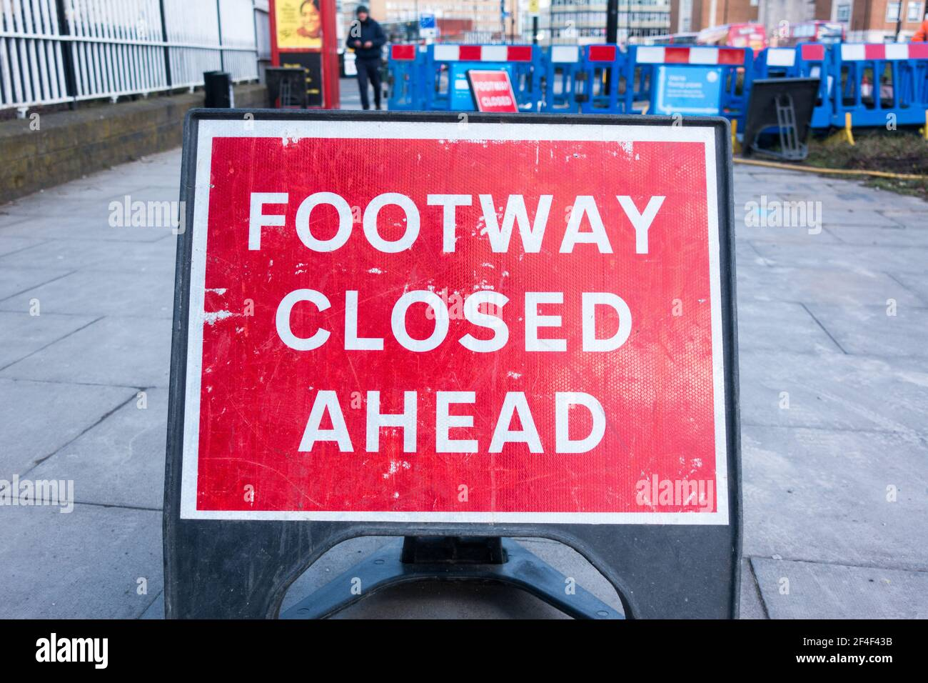 Footway closed ahead road sign in London Stock Photo